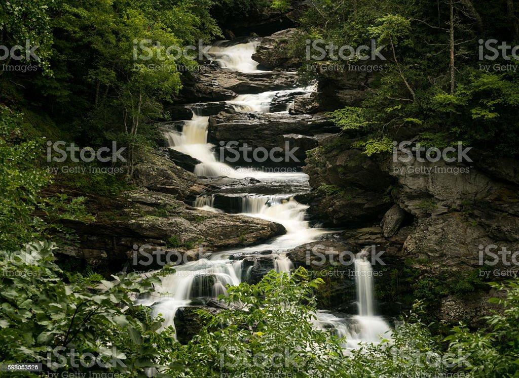 Cullasaja Falls Waterfall on Mountain Water Scenic stock photo