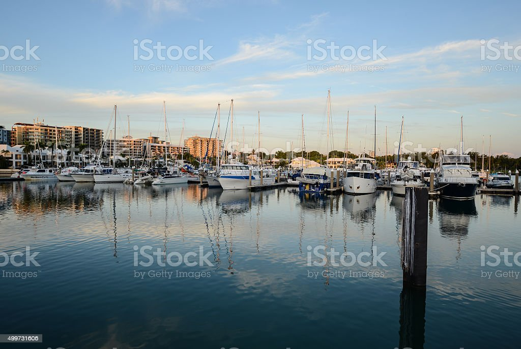 Cullen Bay Marina, Darwin, Northern Territory at Sunset stock photo