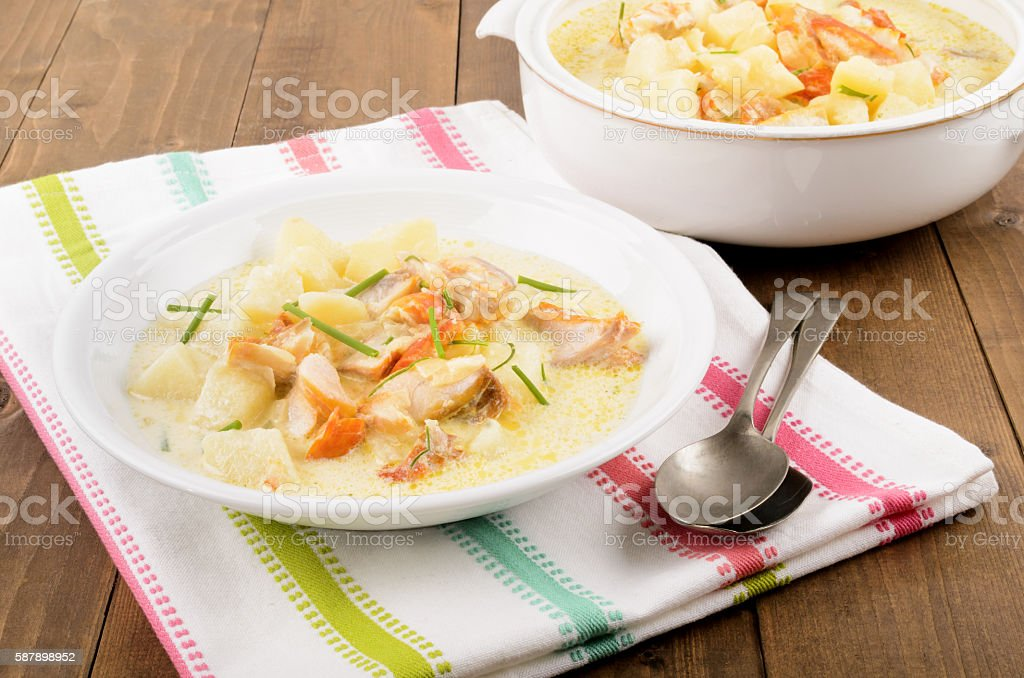 cullen skink, typical scottish food with smoked haddock royalty-free stock photo