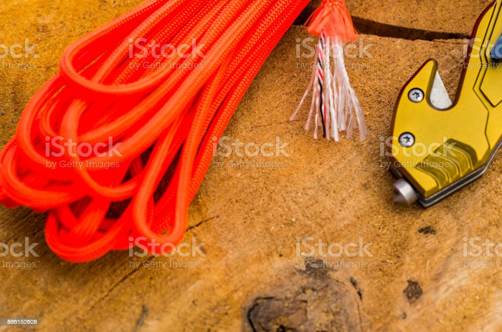Cullet and Cutters for survival in an emergency. Orange rope. stock photo