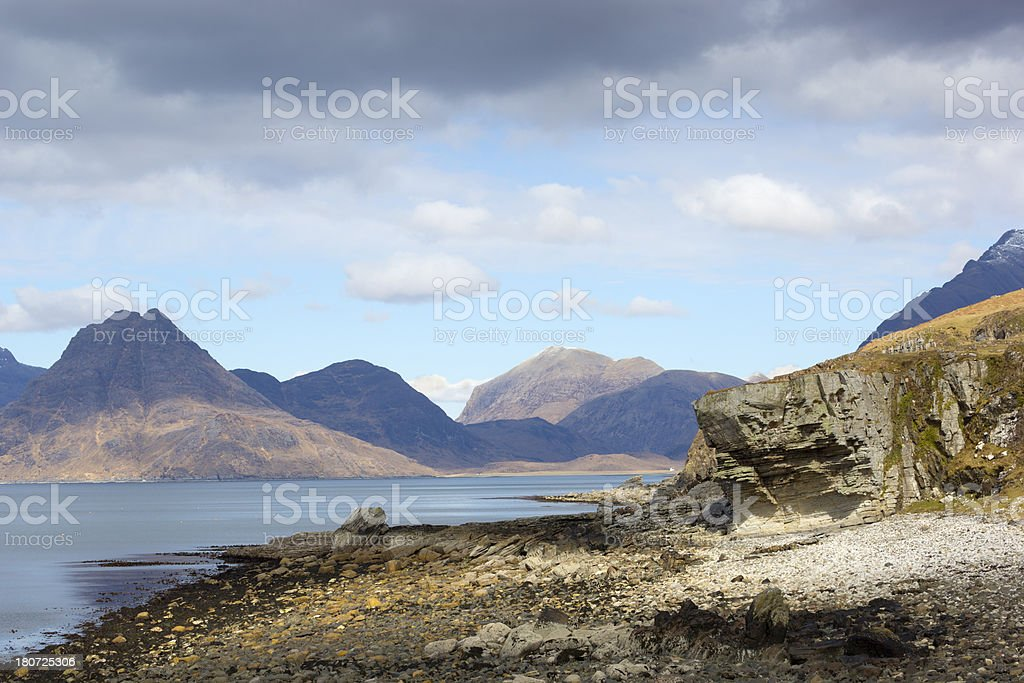 Cullin Mountains viewed from Elgol on the Isle of Skye. royalty-free stock photo