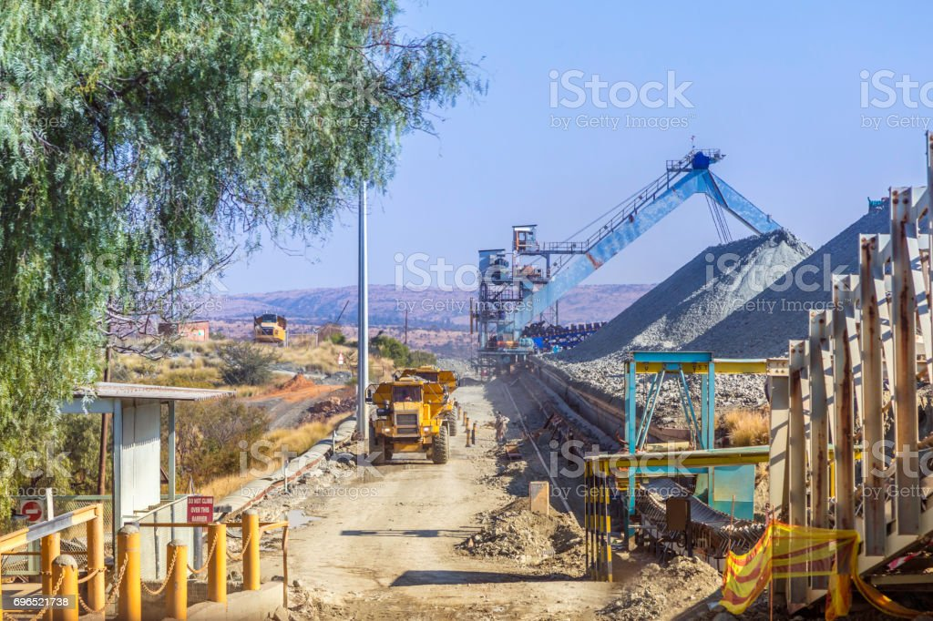 Cullinan Diamond Mine and kimberlite pile stock photo