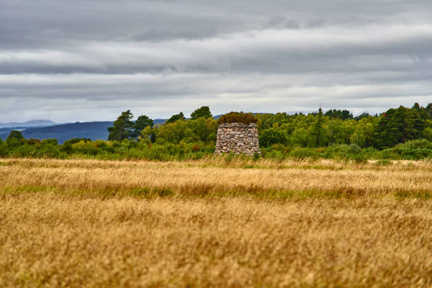 Culloden Battlefield - Scotland Panoramic view over the historic Culloden Battlefield in Scotland under grey clouds. culloden stock pictures, royalty-free photos & images