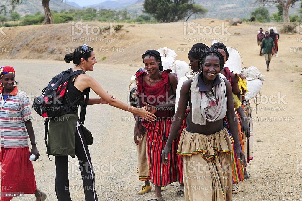 Culturally sensitive travel in Ethiopia stock photo