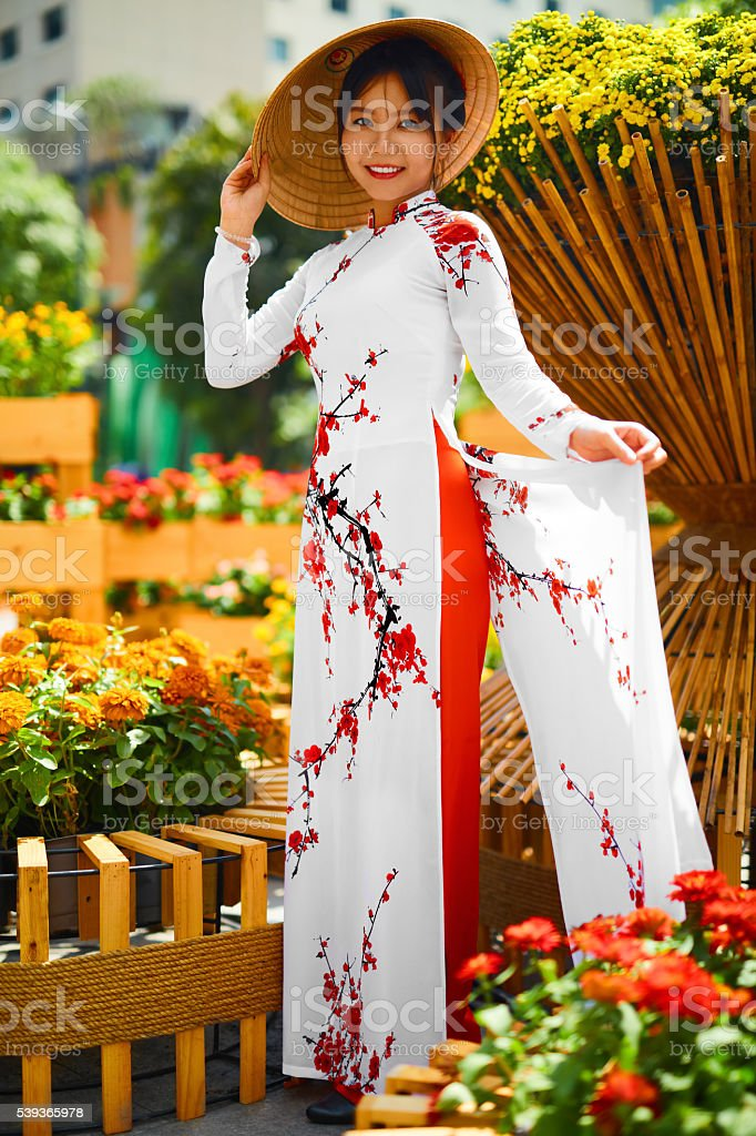 Culture Asia. Asian Woman In Traditional Dress ( Clothes ) stock photo