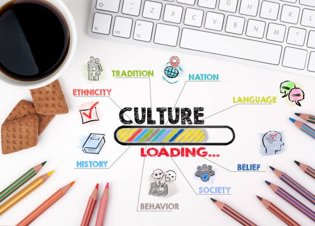 culture concept. chart with keywords and icons - cultures stock pictures, royalty-free photos & images