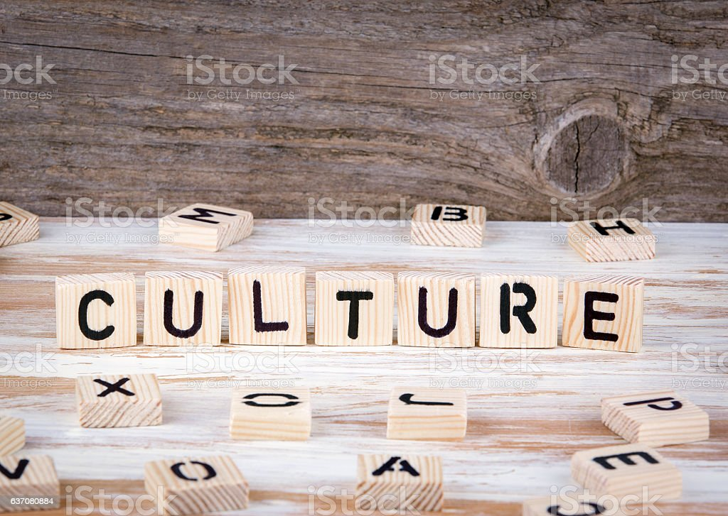 Culture from wooden letters stock photo