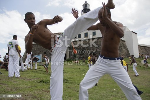 salvador, bahia / brazil - november 23, 2014: Capoeira Wheel is seen near the Farol da Barra in Salvador.