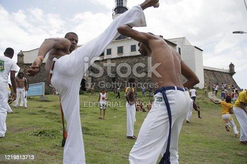 salvador, bahia / brazil - november 23, 2014: Capoeira Wheel is seen near the Farol da Barra in Salvador.