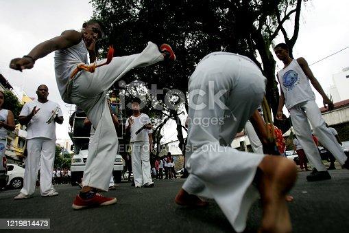 salvador, bahia / brazil - december 8, 2014: Roda de Capoeira is seen in the Comercio neighborhood in Salvador .