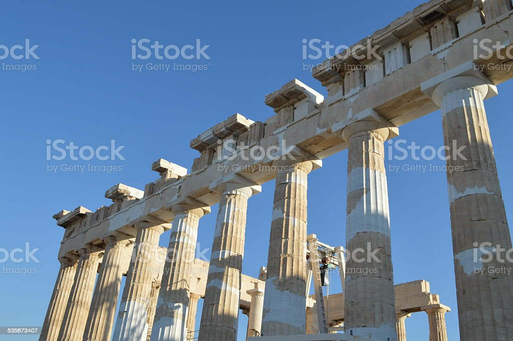 culumns of the Parthenon at the acropolis of athens stock photo