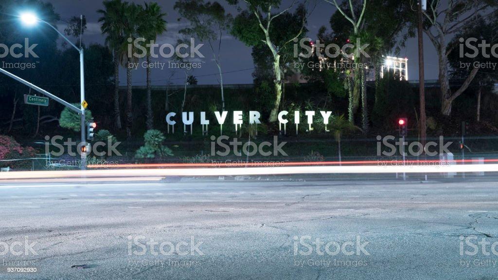Culver City California Sign at night stock photo
