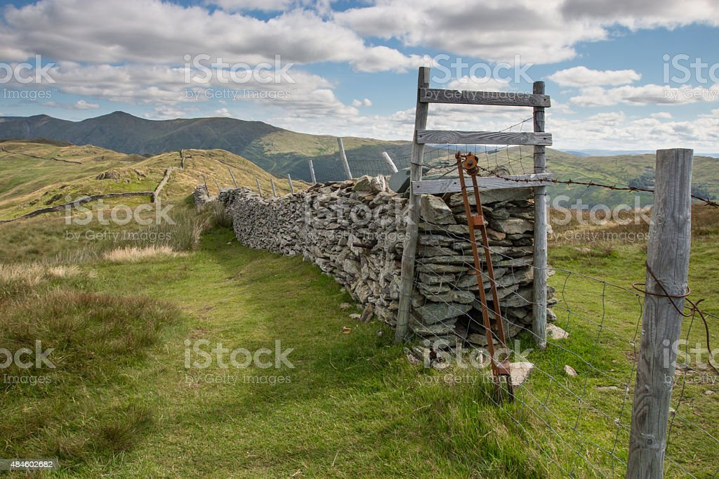 Cumbrian wall stretching into the distance stock photo