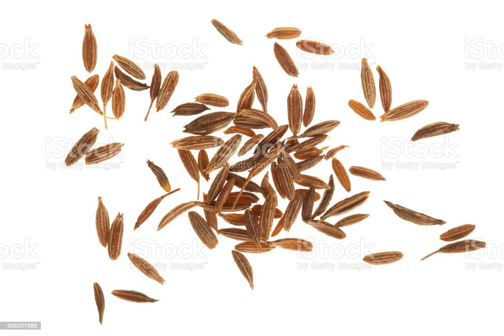 Cumin or caraway seeds isolated on white background. Top view stock photo