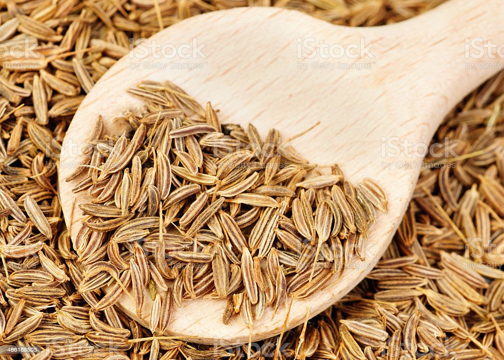 cumin seeds and wooden spoon as background stock photo