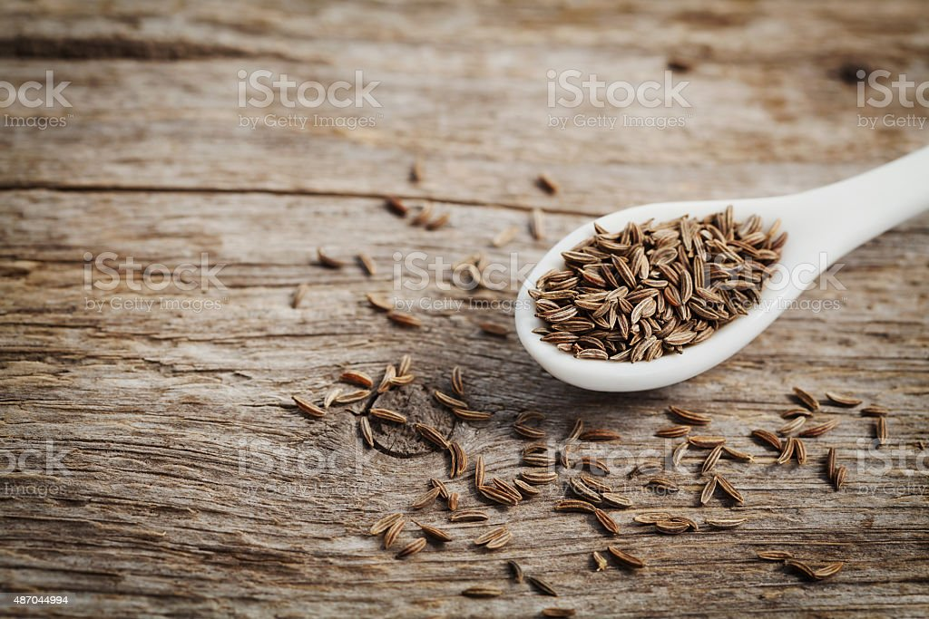 Cumin seeds or caraway with copy space for your text stock photo