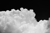 Cumulus cloud on black background