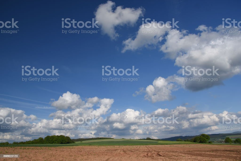 Cumulus Wolken über Feldern royalty-free stock photo