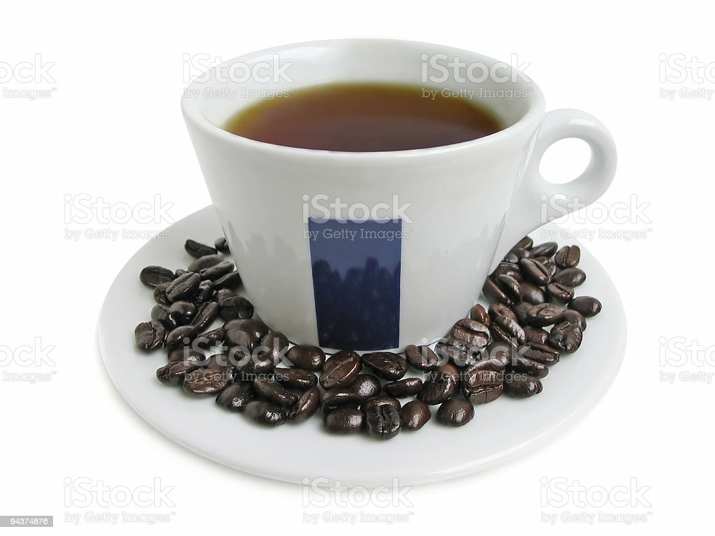 Cup and beens of coffee royalty-free stock photo
