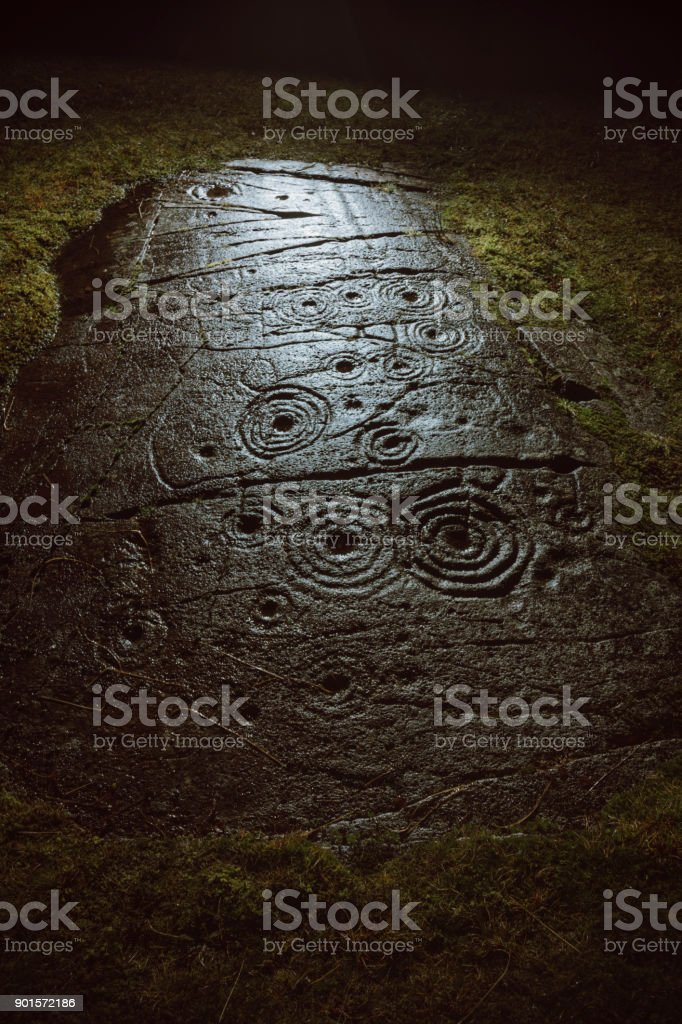 Cup and Ring Mark Rock Art in Argyll, Scotland stock photo
