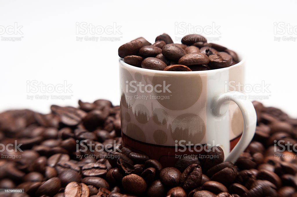 Cup and roasted coffeee beans stock photo