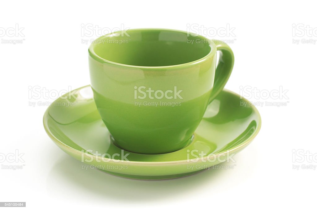 cup and saucer on white background stock photo