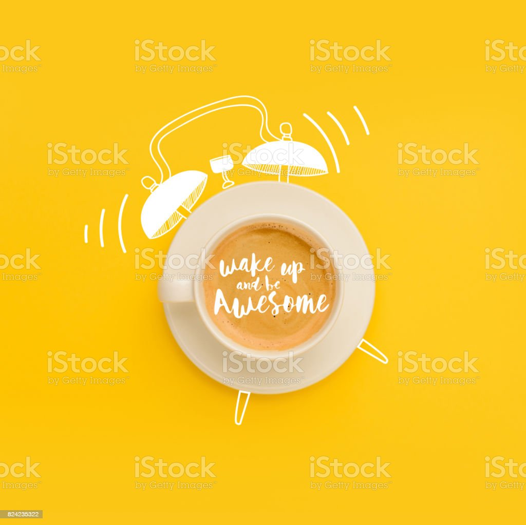 cup as ringing alarm clock royalty-free stock photo
