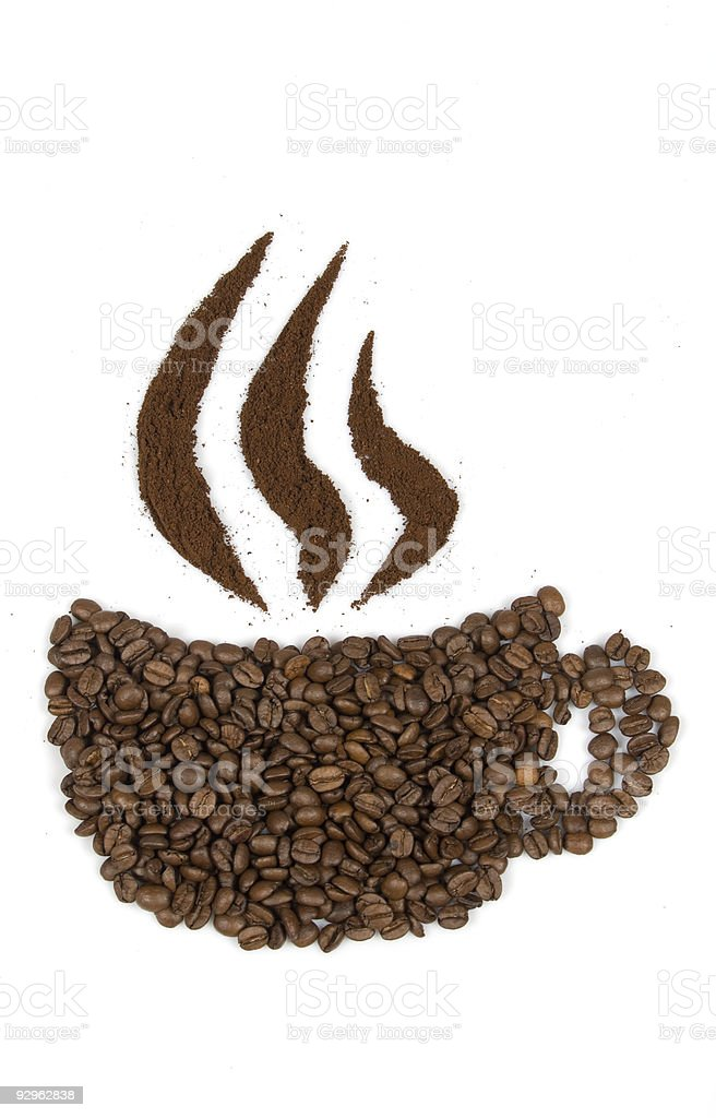 cup by beans with steam royalty-free stock photo