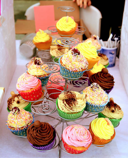 Cup Cake Display. stock photo