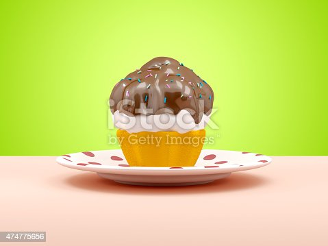 istock cup cake on a plate 474775656