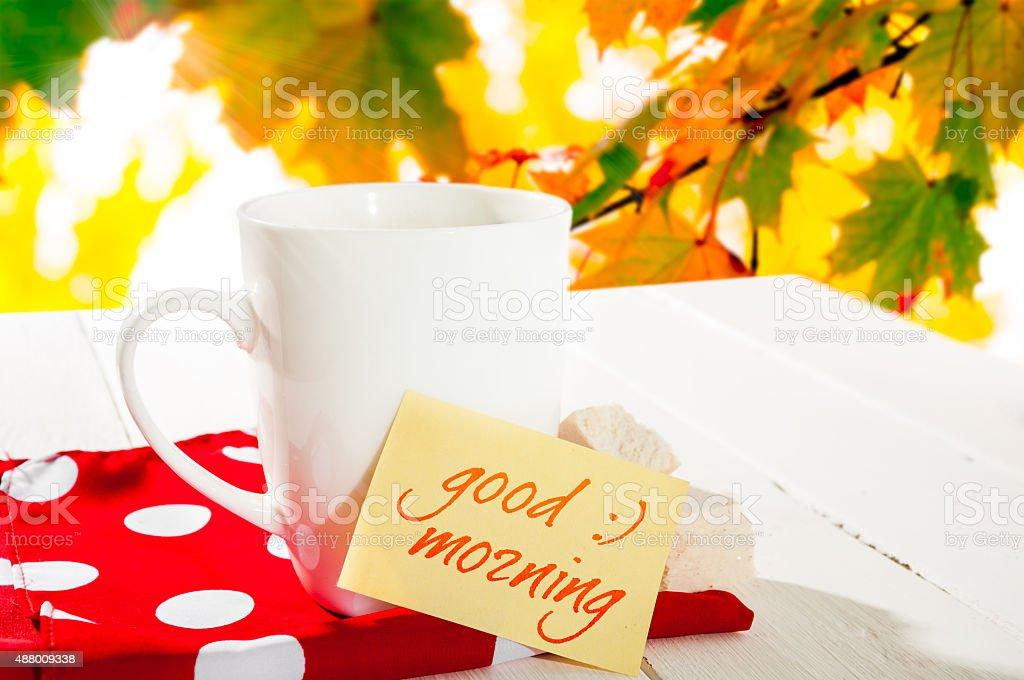 Tasse Kaffee Und Herbst Wald Guten Morgen Stockfoto Und Mehr
