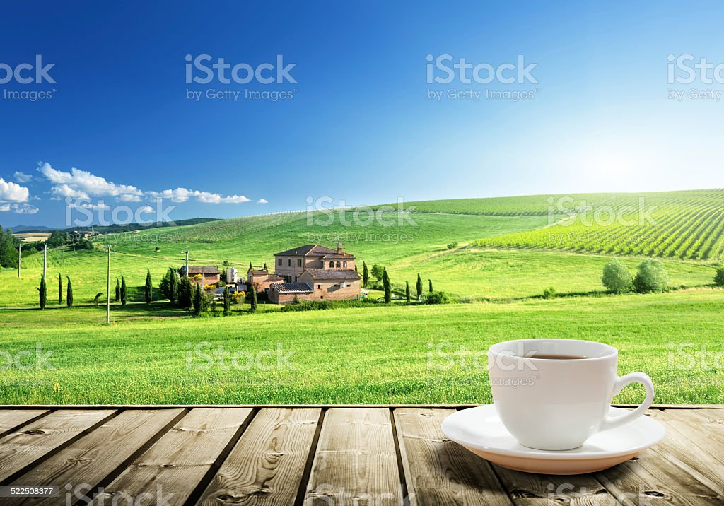 cup coffee and tuscany landscape, Italy stock photo