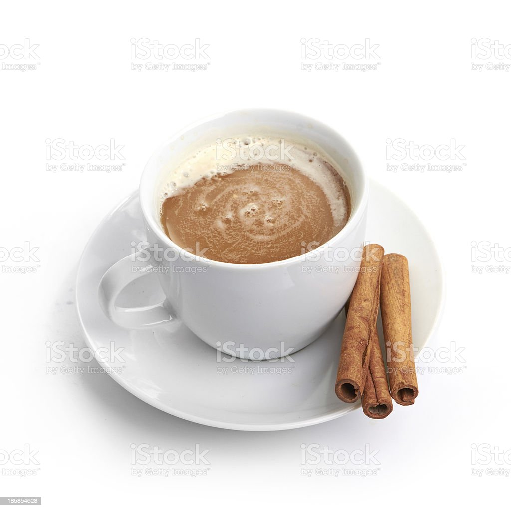 cup coffee with cinnamon isolated on white background royalty-free stock photo