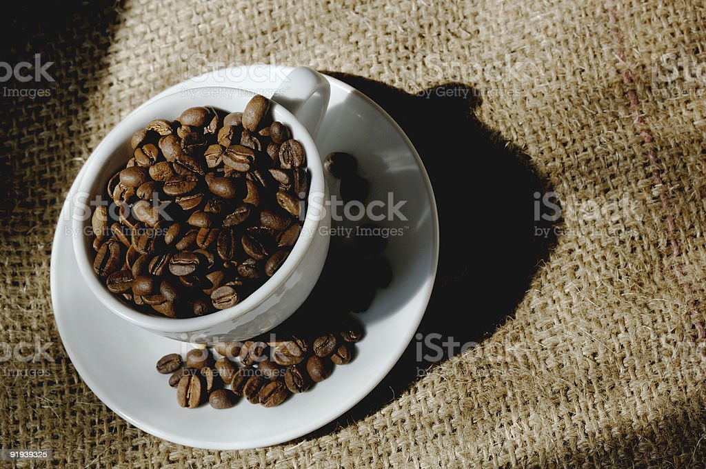 cup filled with roasted coffee beans on producers Hessian sack royalty-free stock photo