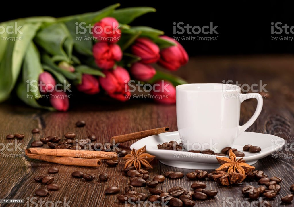 Cup for coffee and flowers stock photo