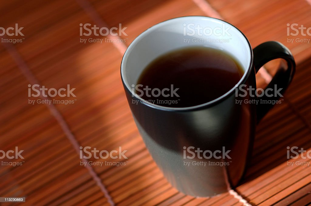 cup, mug of steaming hot black tea, coffee royalty-free stock photo