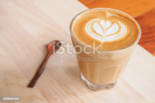Cup of art latte on a cappuccino coffee Selective Focus