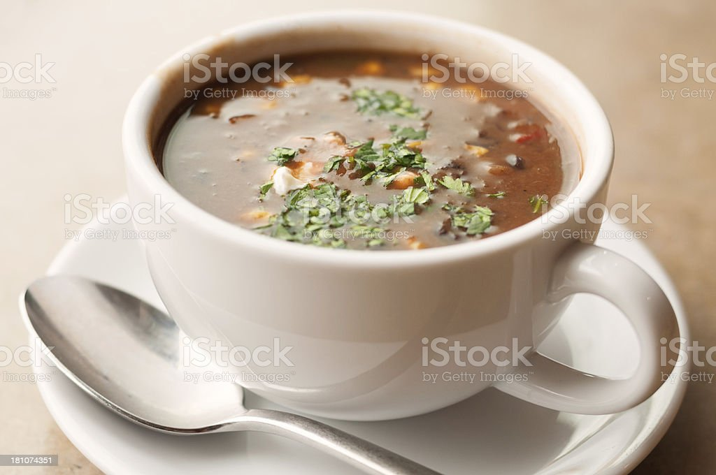 Cup of Black Bean and Vegetable Soup royalty-free stock photo