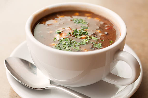 Cup of Black Bean and Vegetable Soup stock photo