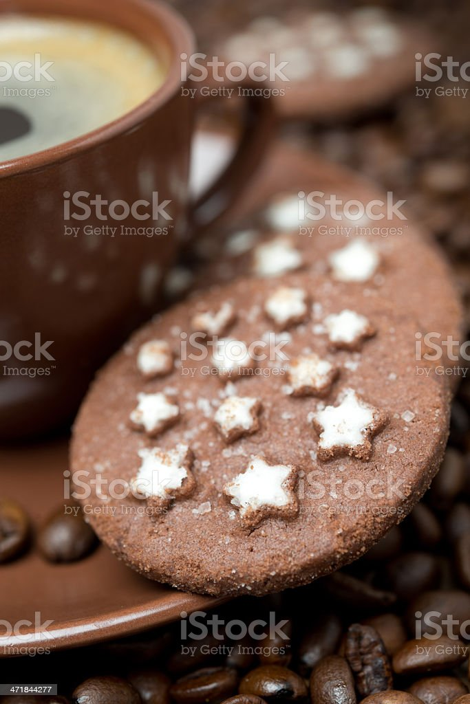 cup of black coffee and Christmas cookies royalty-free stock photo