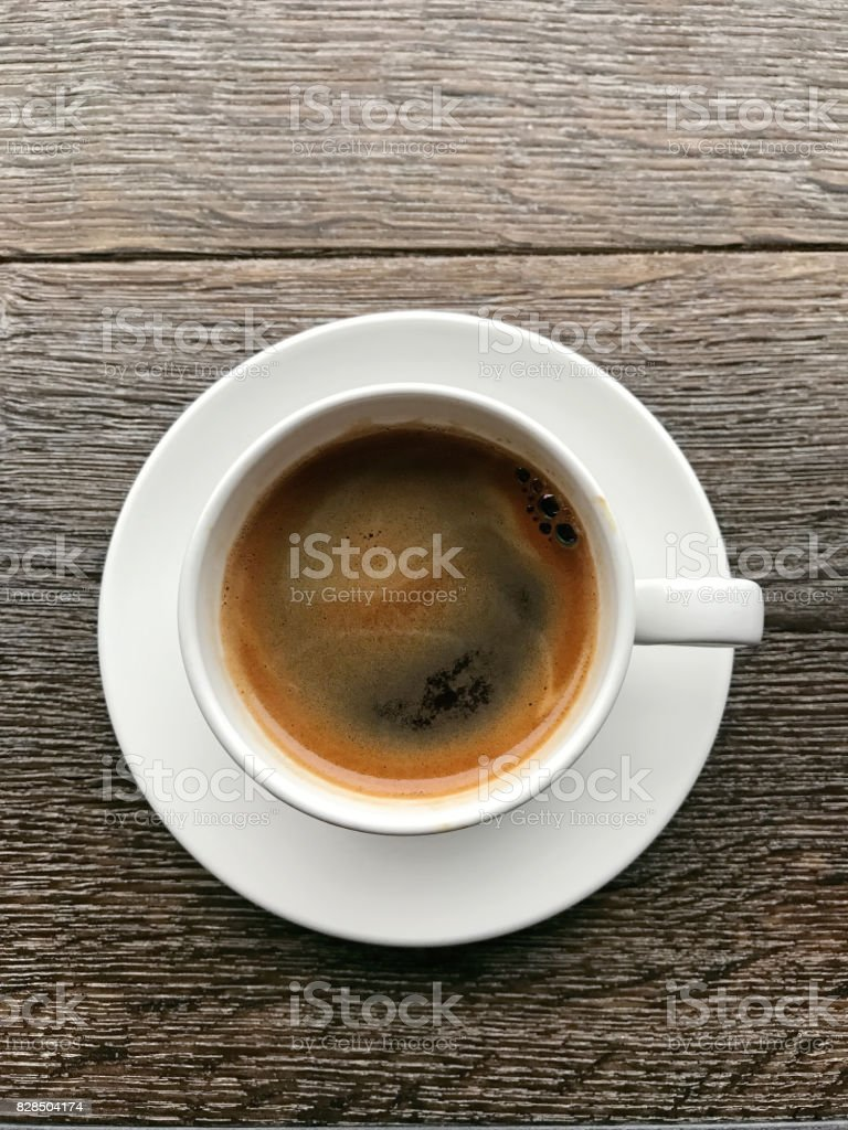 cup of black coffee in a cafe stock photo