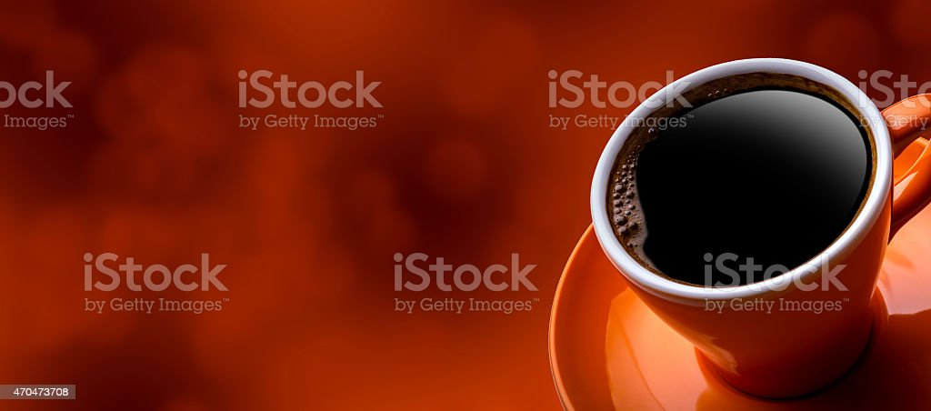 Cup of black coffee on bokeh background. stock photo