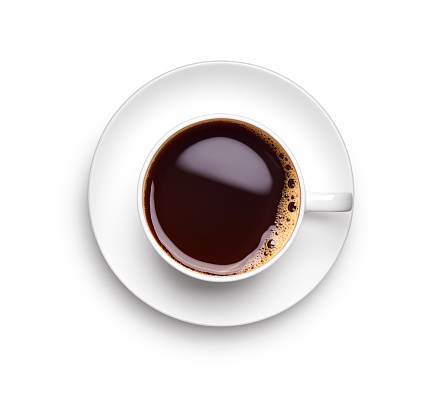 A cup of black coffee over white background - Clipping path included