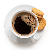 istock Cup of black coffee with biscuits. 1197875900