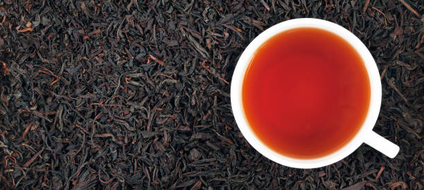 Cup of black tea on the leaves, panorama - foto stock