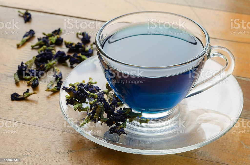 Cup of blue tea stock photo