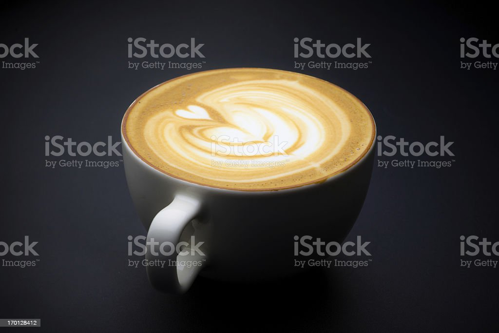 Cup of Cafe Latte Art with a Heart stock photo
