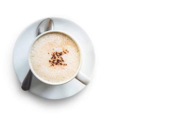tasse cappuccino isoliert auf weißem hintergrund, schneidepfad. - mocca stock-fotos und bilder