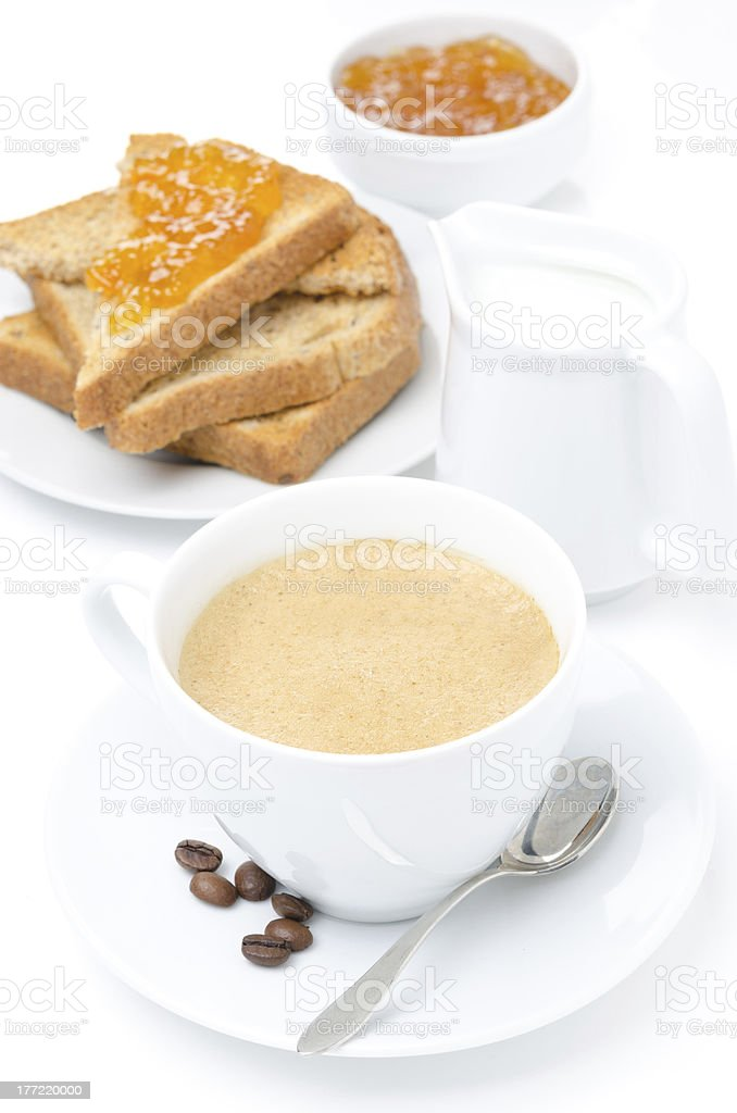 cup of cappuccino, milk and fresh toast with jam royalty-free stock photo