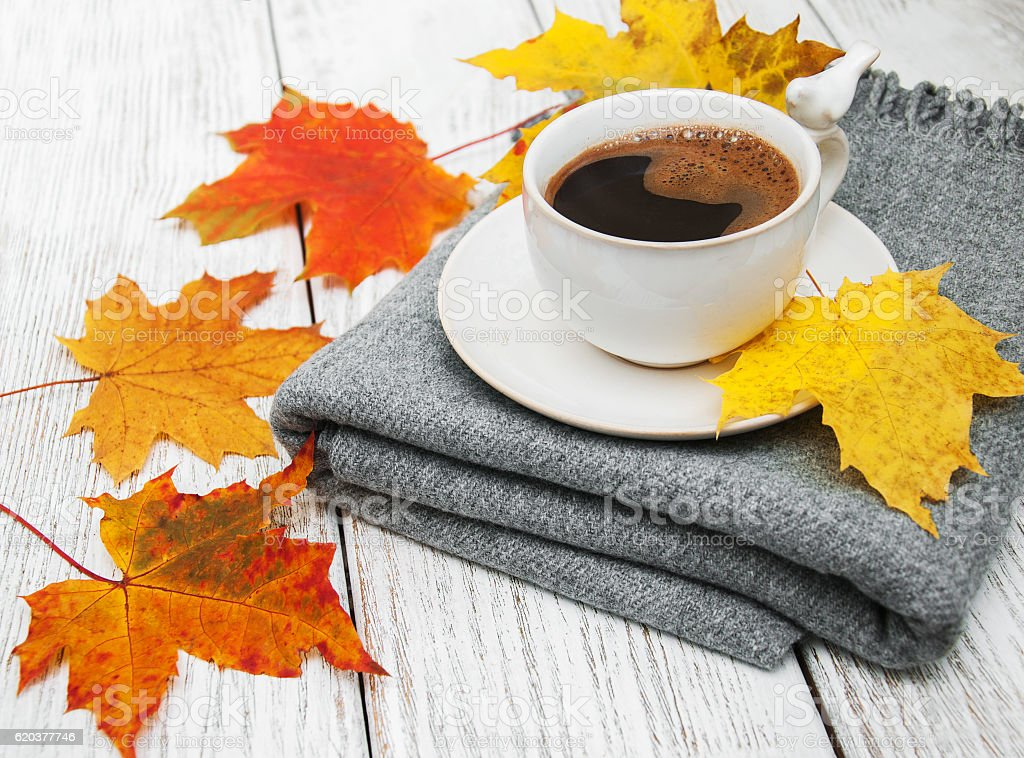 Copo de café e Folhas de outono foto de stock royalty-free